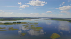 Summer day blue sky forest europe lake aerial panorama belarus Stock Footage
