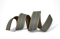A concept image of a strip of tar that has been peeled and curled on an isola - stock illustration