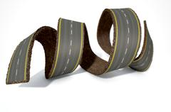 A concept image of a strip of tar that has been peeled and curled on an isola Stock Illustration