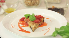 Freshly baked muesli cake with strawberry sauce Stock Footage
