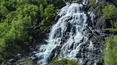 Bratlandsdalen Flesaafossen Waterfall l, Norway Stock Footage
