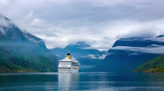 Cruise Liners On Hardanger fjorden Stock Footage