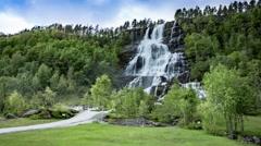 Tvindefossen waterfall, Norway Stock Footage