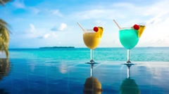 Cocktail near the swimming pool, Maldives. - stock footage