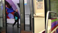 Riding the Paris Metro Stock Footage