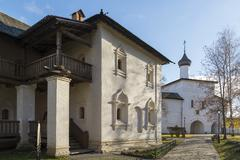 Suzdal, Russia -06.11.2015. Monastic cells and  Gate Church of the territory  - stock photo