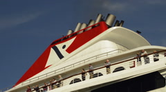 Chimneys and passengers of a cruise liner Stock Footage