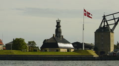 Crown church and ancient boat crane of Copenhagen - stock footage