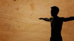 Da Vinci Vitruvian Man Silhouette Stock Footage
