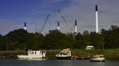 Boat houses of Copenhagen Stock Footage