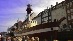 Ancient lightvessel in Nyhavn Stock Footage