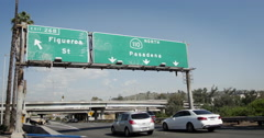 Los Angeles 110 Freeway Exit Figueroa  Stock Footage