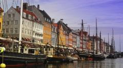 Downtown Copenhagen - Nyhavn as seen from boat Stock Footage