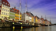 Visiting Copenhagen - sunny Nyhavn Stock Footage