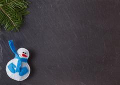 Chalk board with felt figure - stock photo