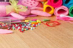 Hobby leisure concept. Needlework objects - stock photo