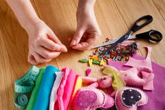 Hobby leisure concept. Needlework objects - stock photo