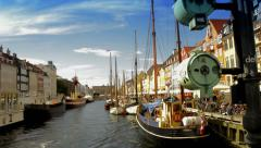 Pan shot of Nyhavn waterfront canal.  Stock Footage