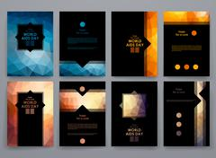 Stock Illustration of Set of brochure, poster design templates in World AIDS Day style