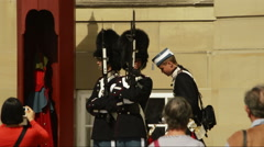 Danish royal guards and tourists Stock Footage