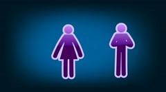 Couple Symbol - Icon - Blue 02 Stock Footage