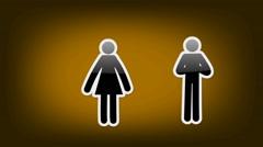 Couple Symbol - Icon - Orange Stock Footage