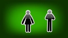 Couple Symbol - Icon - Green Stock Footage