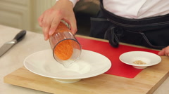 Serving minestrone vegetable soup Stock Footage