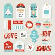 Merry christmas set scrapbook diy printable tags Stock Illustration