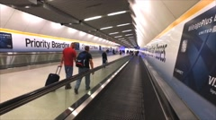 People walkway mover at Washington Dulles airport Stock Footage