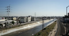 Los Angeles River Scenic Urban Landscape Stock Footage