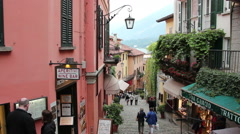 Picturesque street in Bellagio town on Como lake, Italy Stock Footage