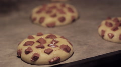 Time lapse Chocolate Cookies baking in the oven - stock footage