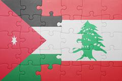 puzzle with the national flag of lebanon and jordan - stock photo