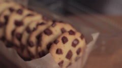 Chocolate chip cookie isolated in packaging Stock Footage