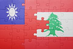 Stock Photo of puzzle with the national flag of lebanon and taiwan