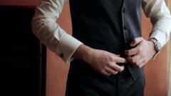 stylish man dress shirt, suit and vest - stock footage