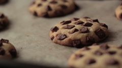 Chocolate chip cookies after baking Stock Footage