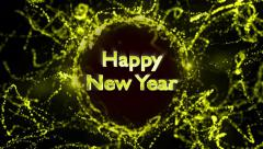 Happy New Year, Gold Text in Particles Ring, 4k - stock footage