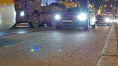 Shooting at the low point. Evening road traffic in the center of Moscow. Stock Footage