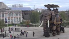 Giant mechanical elephant - stock footage