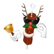 Kebab Reindeer with bell and holly berry Stock Illustration