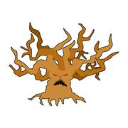 Terrible tree monster with evil eyes. Ancient tree monster with dry twigs. Stock Illustration