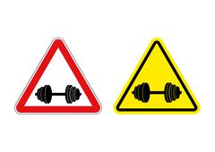 Attention fitness. Warning sign sport. Red and yellow road signs with barbell Stock Illustration