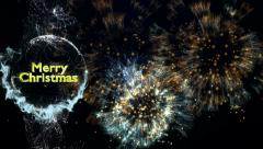 Merry Christmas, Gold Text in Particles and Fireworks Background, 4k Stock Footage