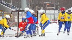 RUSSIA, KRASNOGORSK -  Women's hockey League bandy, Russia Stock Footage