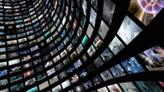 Animated video wall, rotating with green screen - stock footage