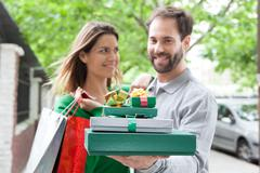 Couple in love celebrating Christmas  Stock Photos
