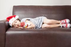 The girl fell asleep waiting for christmas Stock Photos