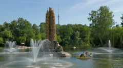 The fountains in the pond Park Exhibition of Economic Achievements in Moscow. Stock Footage
